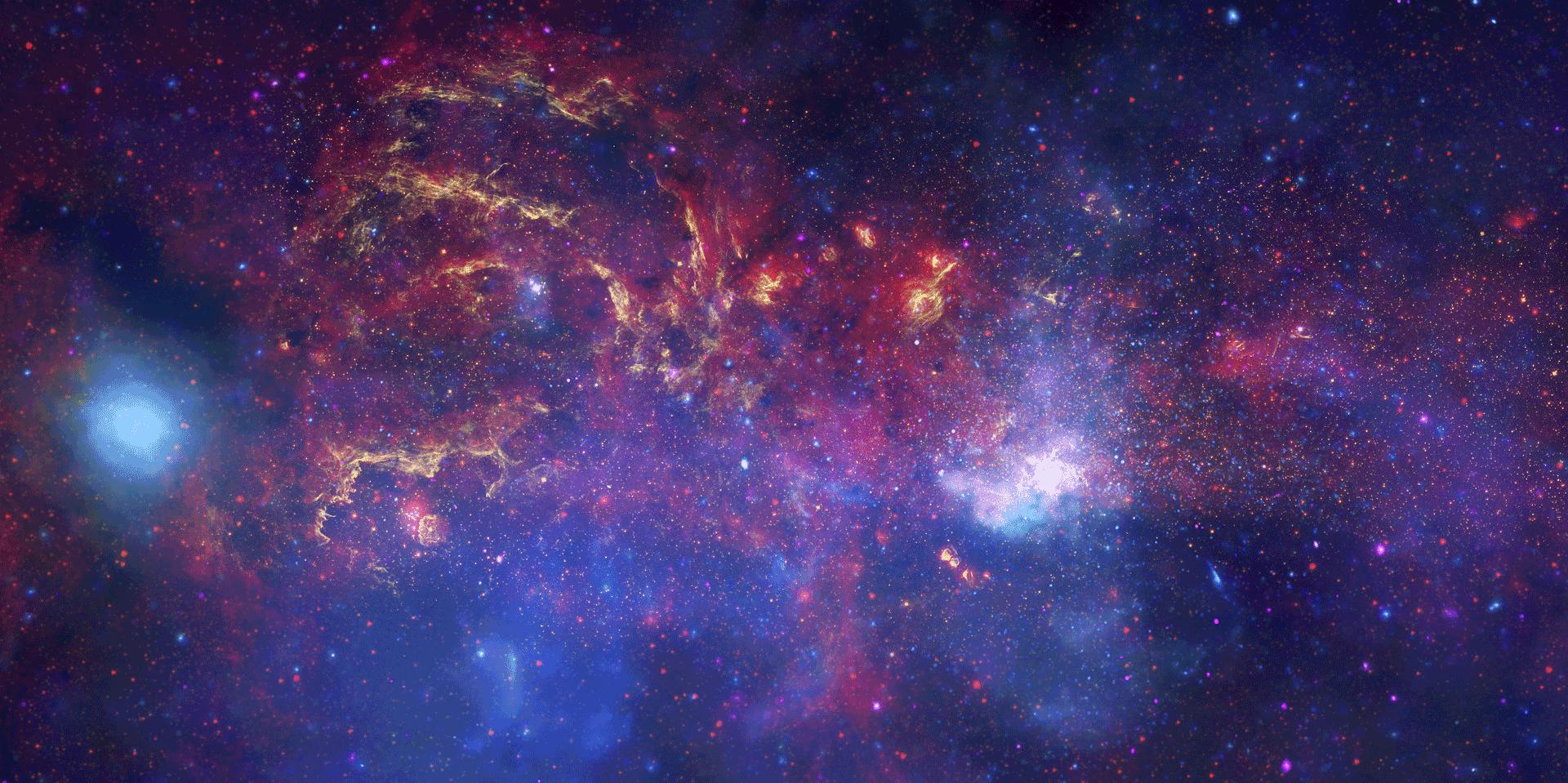 Teleskope kaufen - Milchstraße Panorama Bild mit blauen und lila Farben.